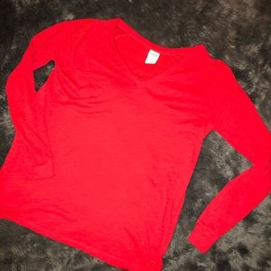 Victoria's Secret PINK Red Long Sleeve Tee Size L